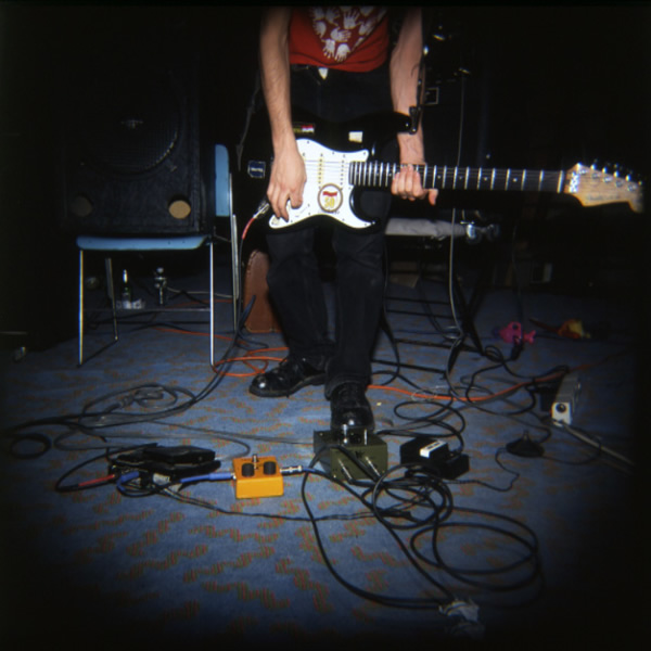 Nick Zinner's guitar and effects pedals