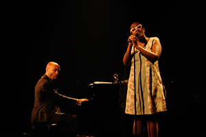 [The Aaron Diehl Trio featuring Cécile McLorin Salvant] Cécile McLorin Salvant and Aaron Diehl at L\\\\\\\'Astral in Montreal; Photo by Victor Diaz Lamich