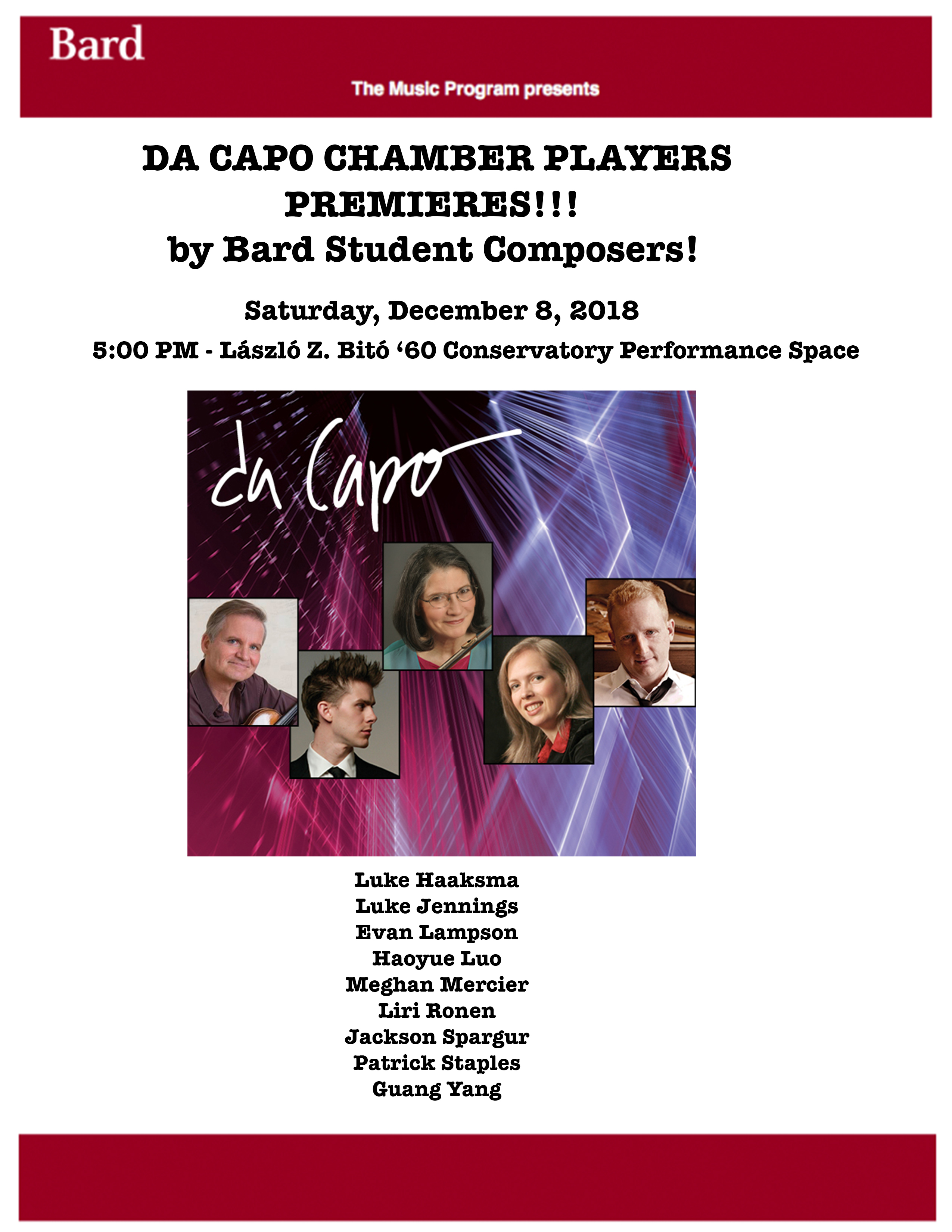 image for <strong>Da Capo Chamber Players and Friends: Premieres by Bard Composers!!</strong>