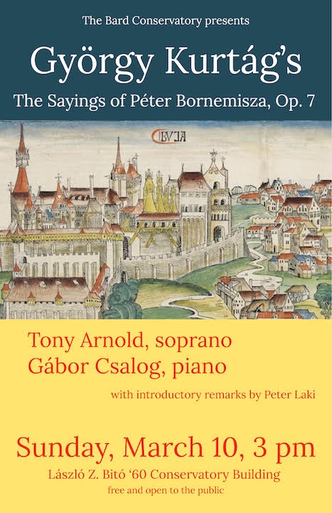 image for Conservatory Visiting Artists: Tony Arnold, <em>soprano</em>, and Gábor Csalog,<em> piano,</em> perform György Kurtág's <em>The Sayings of Péter Bornemisza </em>and songs by Samuel Barber, Elliott Carter, Aaron Copland, and Charles Ives