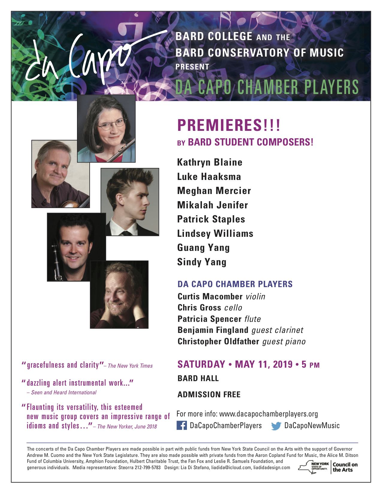 image for Da Capo Chamber Players Perform Premieres of Bard Student Composers