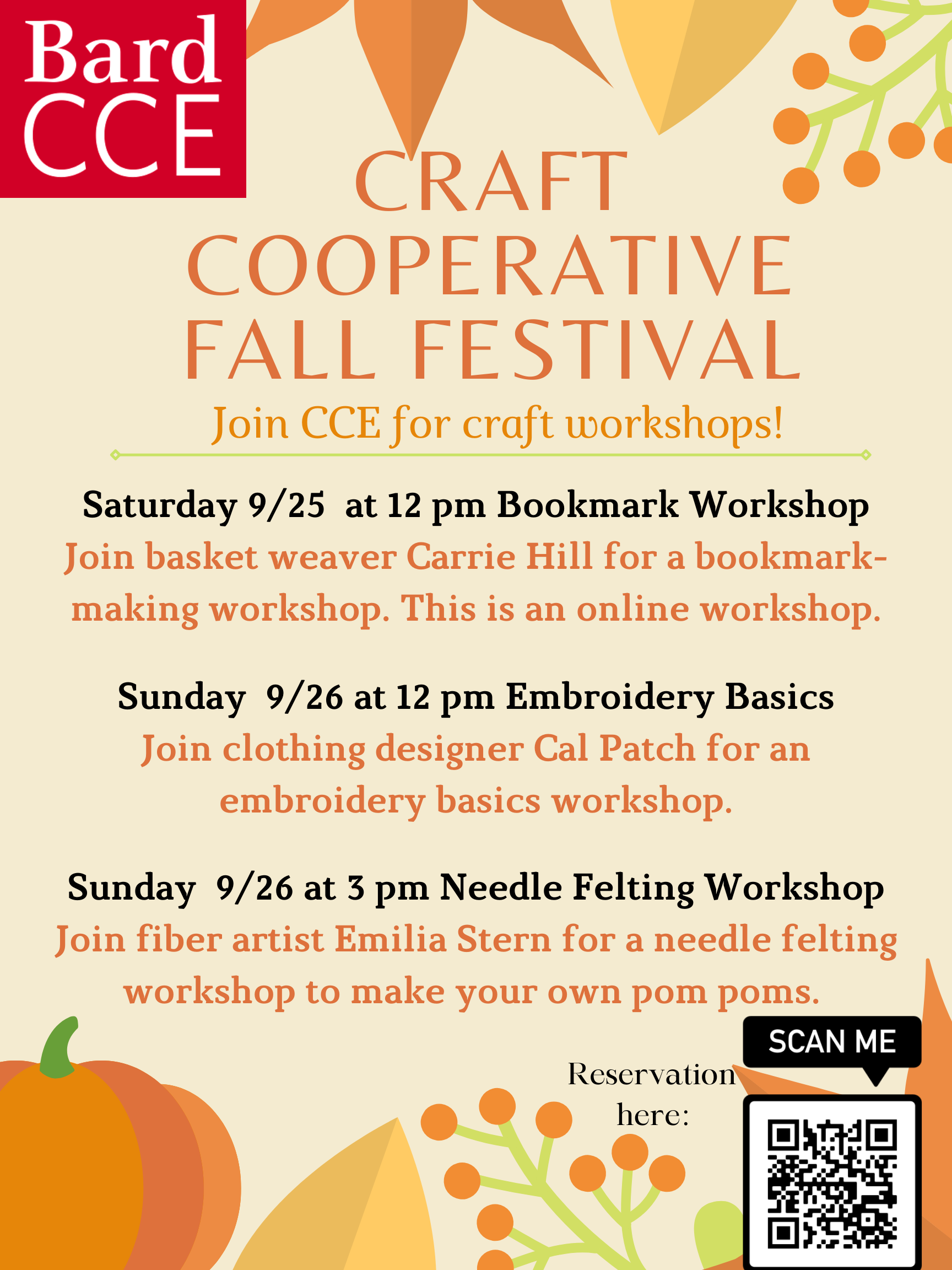 [Craft Cooperative Fall Festival Workshops on Embroidery and Needle Felting]