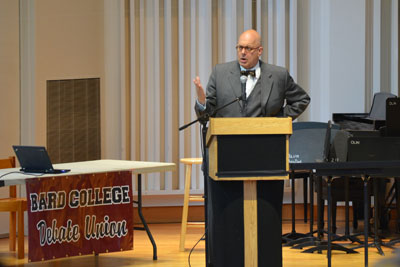 Bard College president Leon Botstein speaks at the Bard College Invitationalawards ceremony.