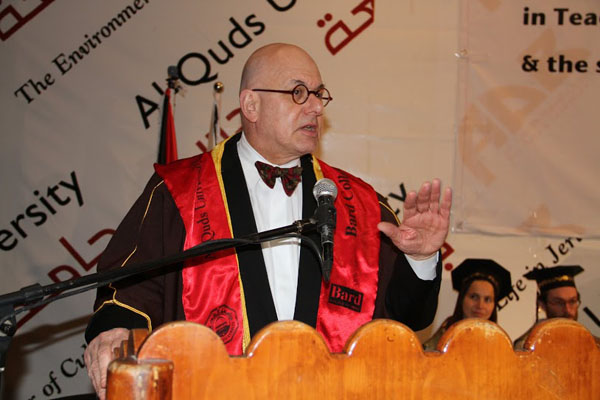 Bard College President Leon Botstein addresses the graduates at the Al-Quds–Bard commencement ceremony.