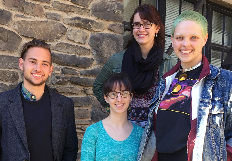 Xaver Kandler '18, Bard CEP graduate students Meredith Lavalley and Rebecca Chillrud, and Maggie Berke '17. (L-R)