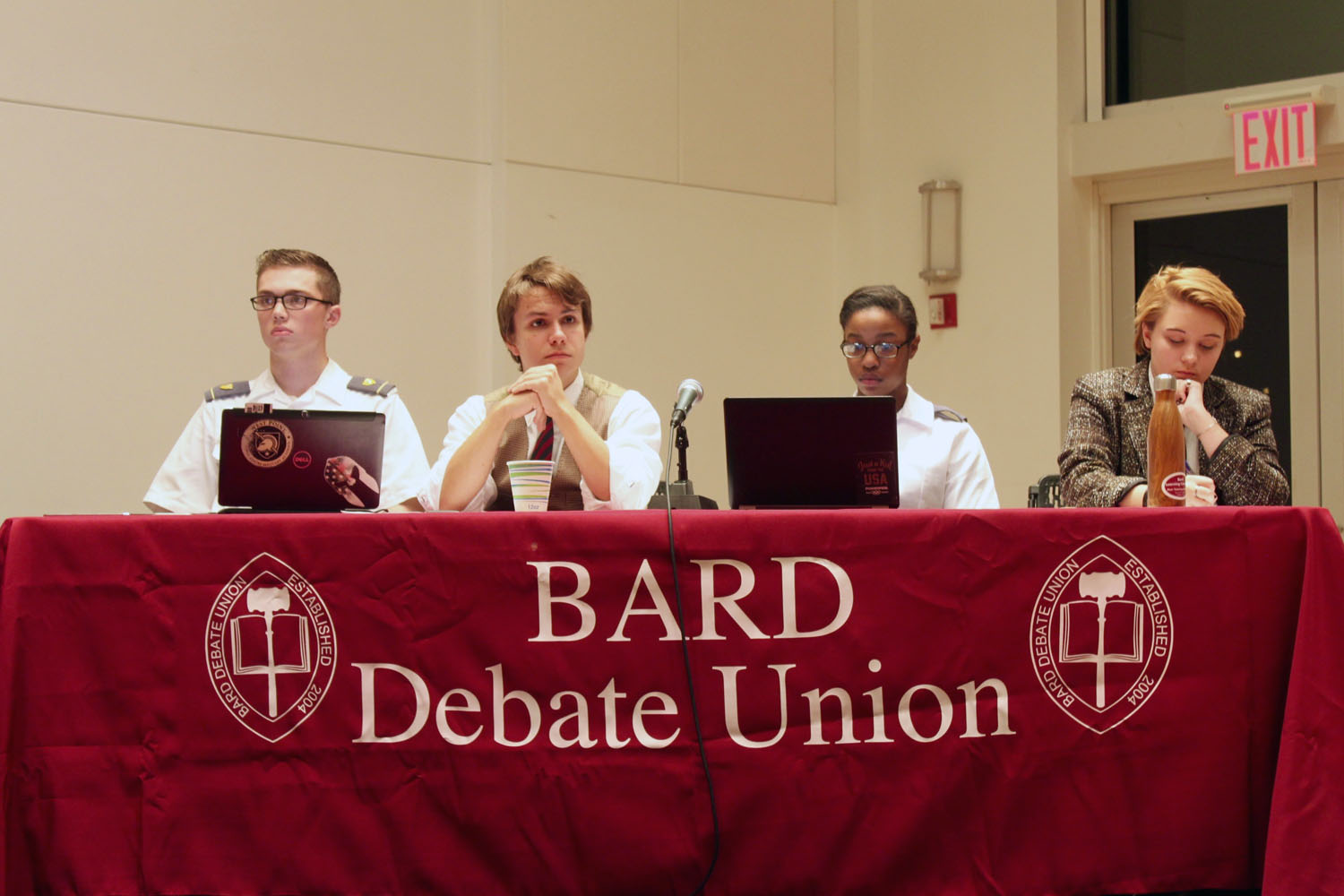 West Point cadets and students in the Bard Debate Union compete on mixed teams in a debate on safe space rhetoric on college campuses. Photos by Sarah Wallock '19.