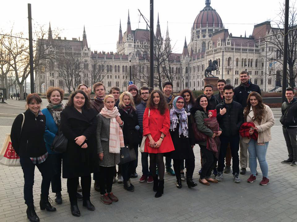 "Participants in the ""Bard Network Debate Conference"" go on a walking tour of Budapest."