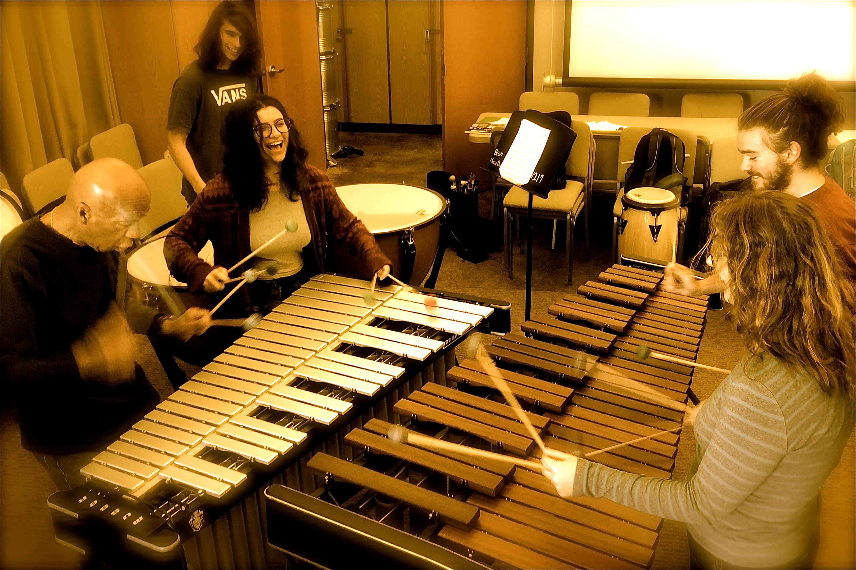 "[The Bard Percussion Ensemble and ""Take 3"" featuring Avalon Packer, Isaac Pincus and Thurman Barker performing original music.]"