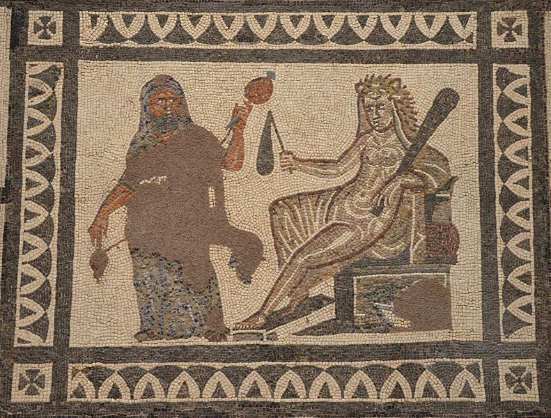 """[Bizarro Hercules: The Omphale Myth in Augustan Rome] """"Hercules and Omphale"""" from the Mosaic with the Labors of Hercules from Llíria (Valencia), Spain."""