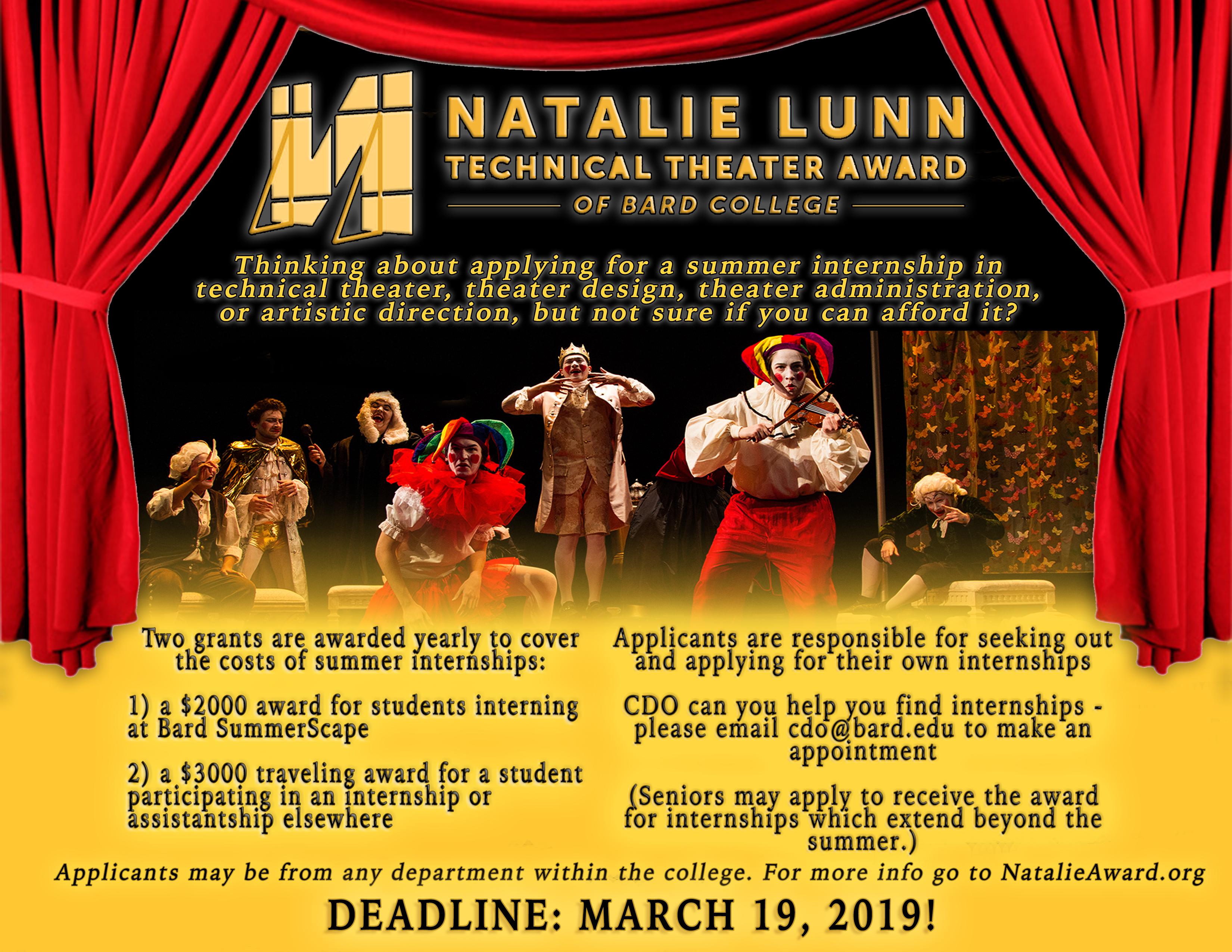 [Deadline: Natalie Lunn Teachnical Theater Awards]