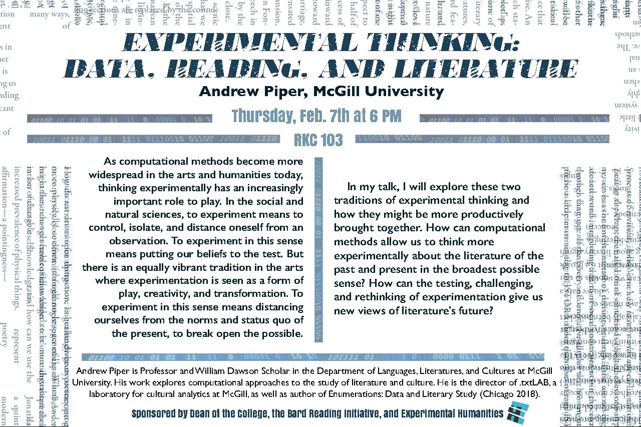 [Experimental Thinking: Data, Reading, and LiteratureAndrew Piper, McGill University]