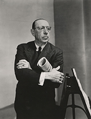 [Panel ThreeLenin, Hitler, Stalin, and Mussolini: Music, Ethics, and Politics] Igor Stravinsky, 1882-1971, Russian composer, photograph, 1949 
