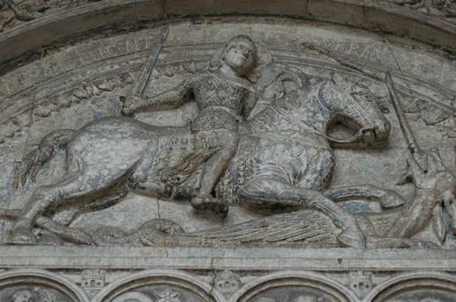 [Candidate for Medieval Position, Christopher R. Lakey] St. George Killing the Dragon, Cathedral of St. George, Ferrara (1135)