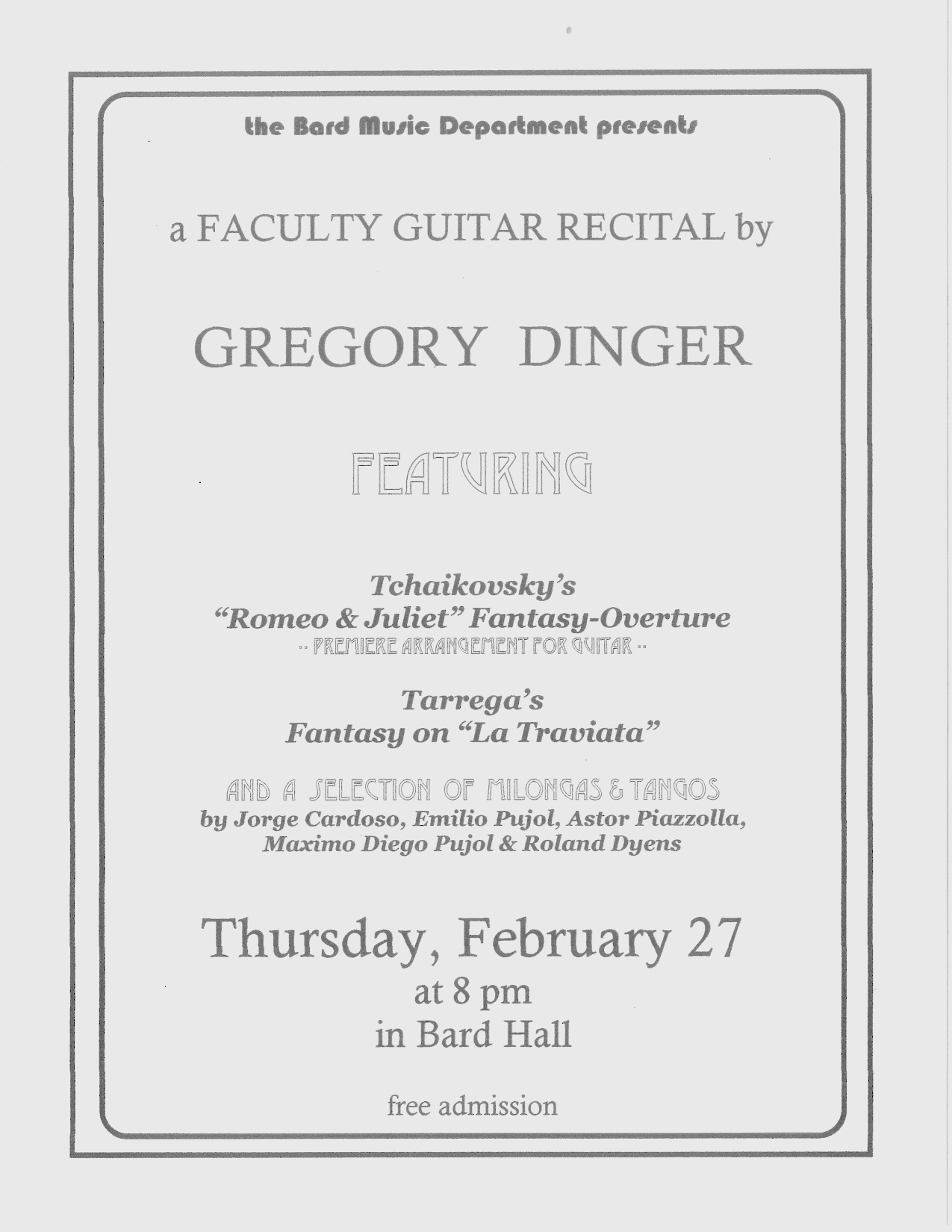 [Faculty Concert - Gregory Dinger]