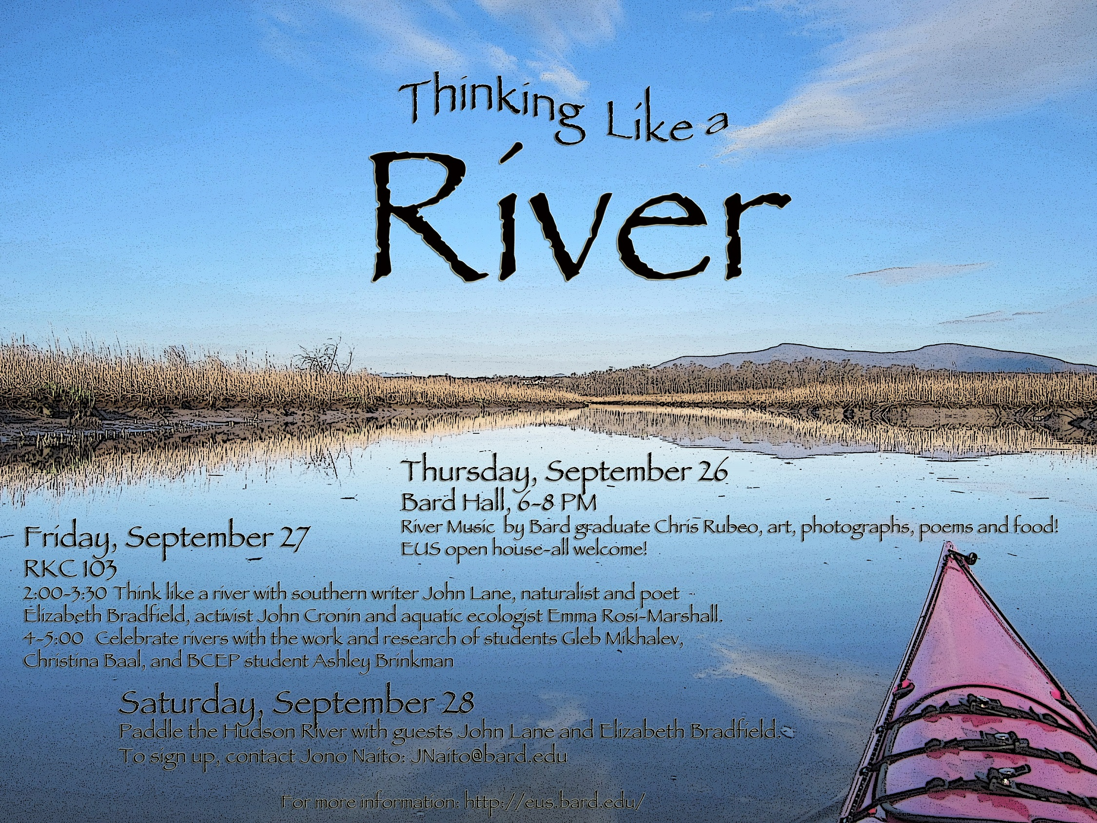 [Thinking Like A River (guest presentations)] Beautiful poster by Bard student Christina Baal!