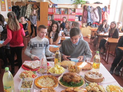 Bard College alumnus Dan Cline '08 -- classroom in Haisyn, Ukraine. Thanksgiving 2013.